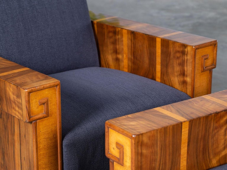 Pair of French Art Deco Walnut Maple Birch Armchairs, circa 1930 For Sale 5