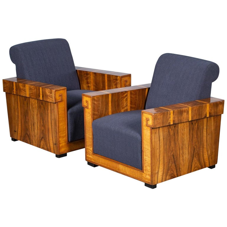 Pair of French Art Deco Walnut Maple Birch Armchairs, circa 1930 For Sale