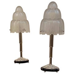 "Pair of French Art Deco ""Waterfall"" Table Lamps Signed by Sabino"