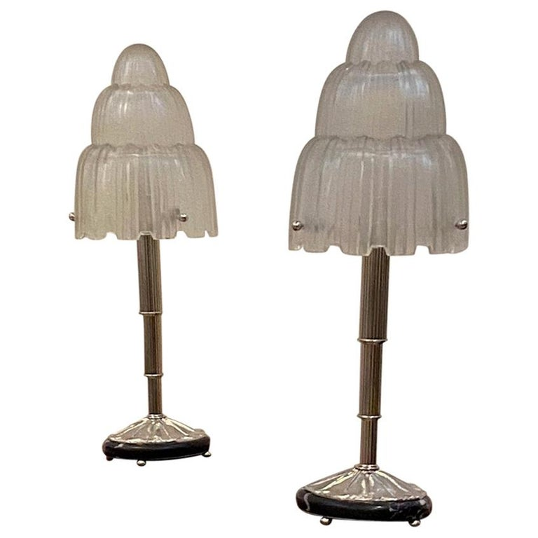 """Pair of French Art Deco """"Waterfall"""" Table Lamps Signed by Sabino For Sale"""