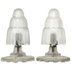 Pair of French Art Deco Waterfall Table Lamps Singed by Sabino