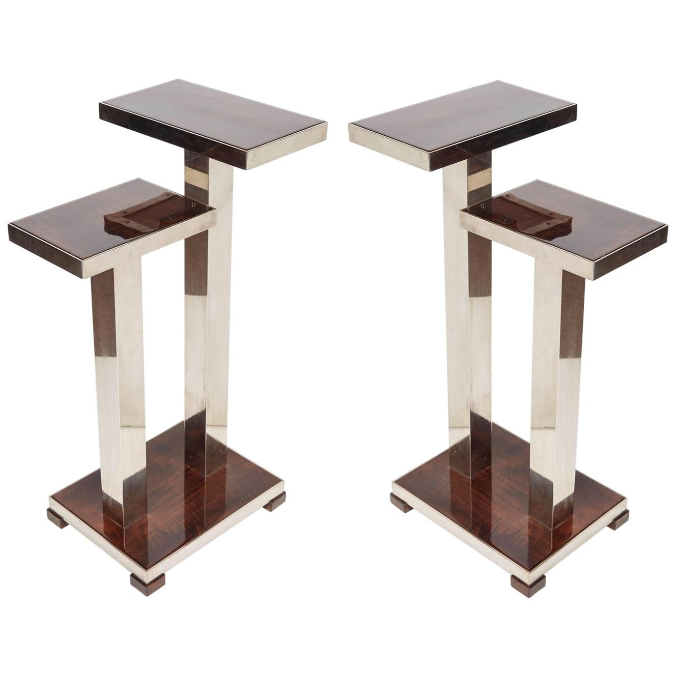Pair of French Art Deco Wood and Nickeled Bronze Tables Attributed to A. Ducaroy