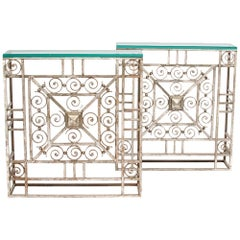 Pair of French Art Deco Wrought Iron and Glass Console Tables, circa 1930