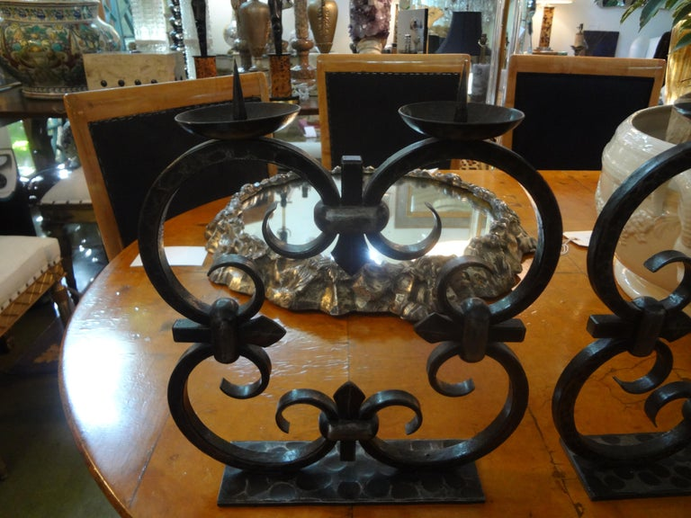 Pair of French Art Deco Wrought Iron Candleholders by Michel Zadounaisky In Good Condition For Sale In Houston, TX