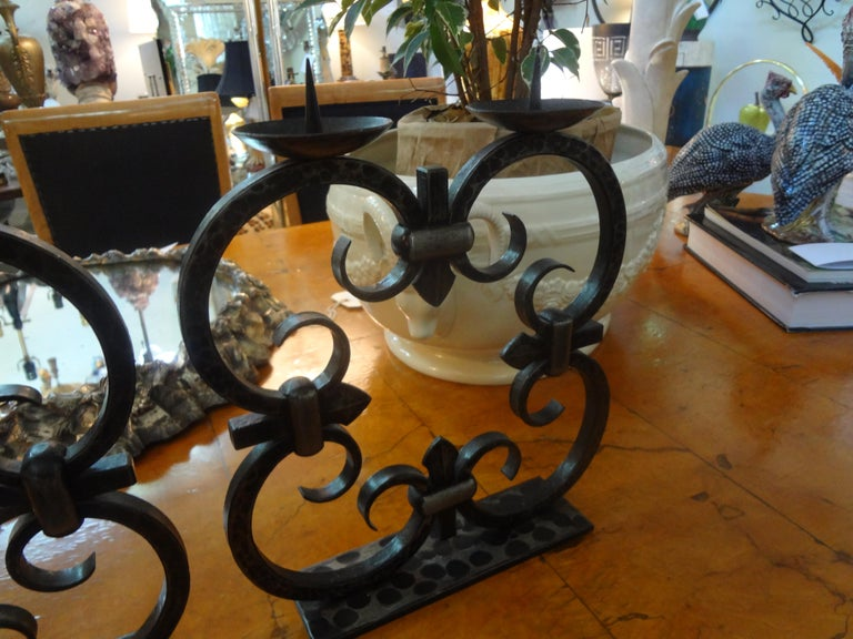 Mid-20th Century Pair of French Art Deco Wrought Iron Candleholders by Michel Zadounaisky For Sale