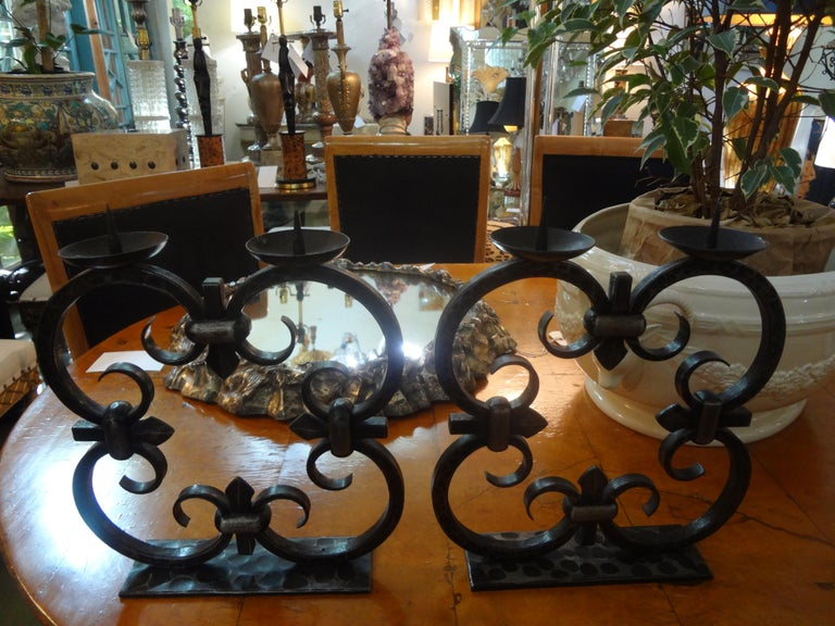 Pair of French Art Deco Wrought Iron Candleholders by Michel Zadounaisky For Sale 1