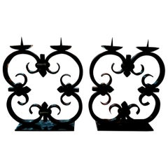 Pair of French Art Deco Wrought Iron Candleholders by Michel Zadounaisky