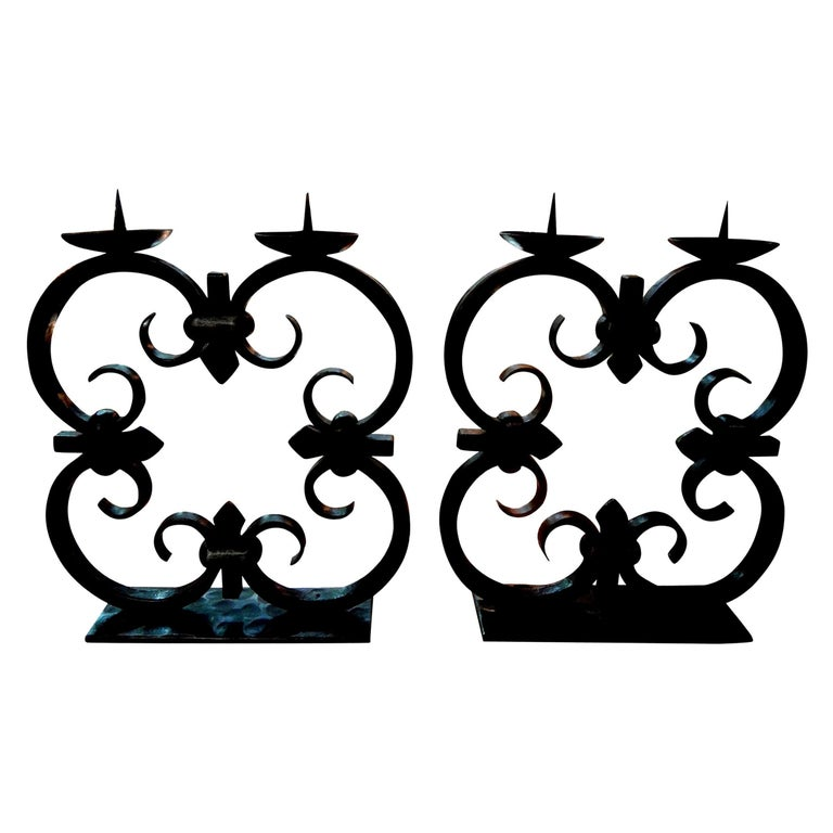 Pair of French Art Deco Wrought Iron Candleholders by Michel Zadounaisky For Sale