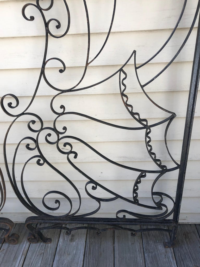 Pair Of French Art Deco Wrought Iron Gates Or Room