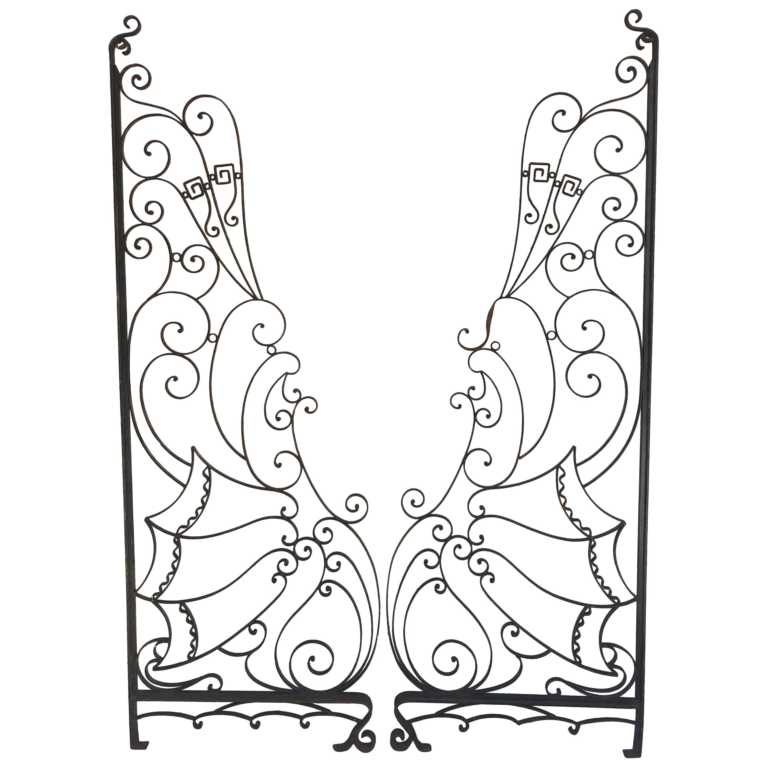 Pair of French Art Deco Wrought Iron Gates or Room Dividers