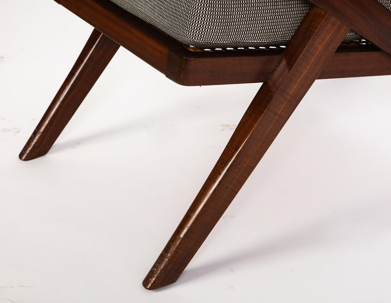 Pair of French 'Art Moderne' Mahogany and Caned Armchairs, 20th Century For Sale 9