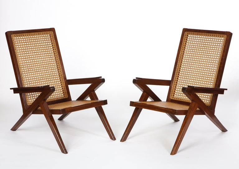 Pair of French 'Art Moderne' Mahogany and Caned Armchairs, 20th Century For Sale 10