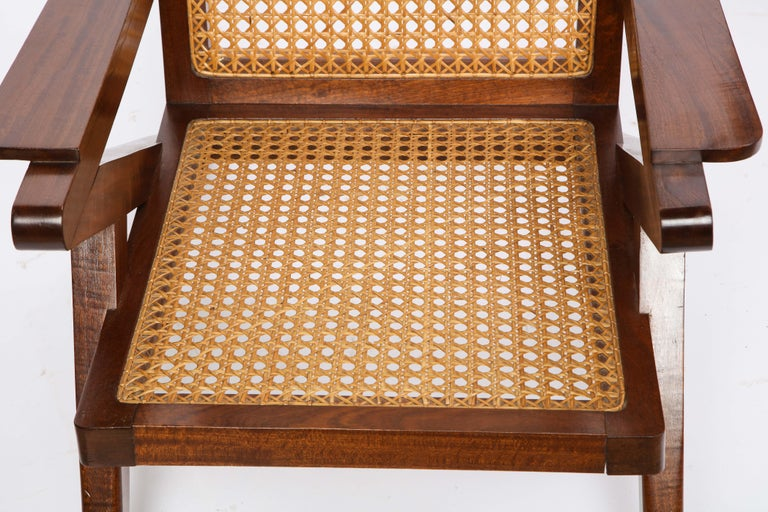 Pair of French Art Moderne Mahogany and Caned Armchairs, 20th Century For Sale 12