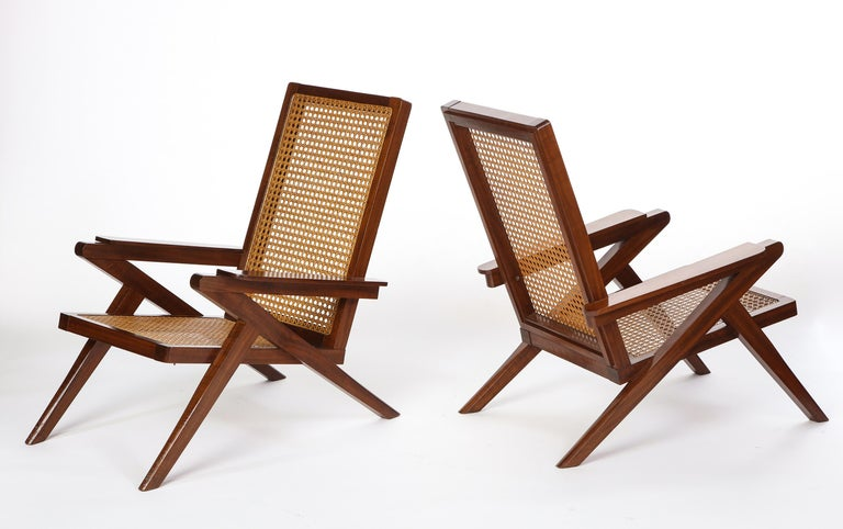 Pair of French 'Art Moderne' Mahogany and Caned Armchairs, 20th Century For Sale 13
