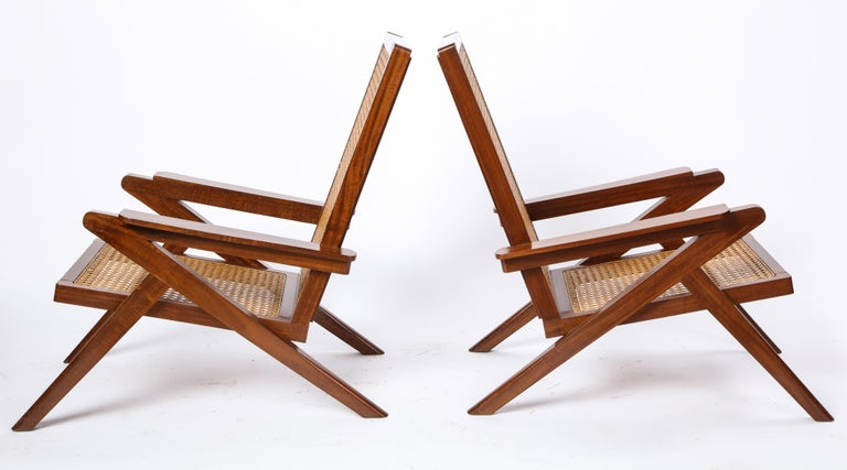 Pair of French Art Moderne Mahogany and Caned Armchairs, 20th Century In Good Condition For Sale In New York, NY