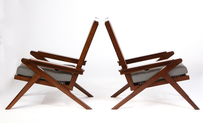 Streamlined Moderne Pair of French 'Art Moderne' Mahogany and Caned Armchairs, 20th Century For Sale