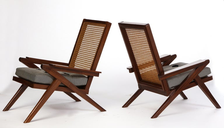 Pair of French 'Art Moderne' Mahogany and Caned Armchairs, 20th Century For Sale 1