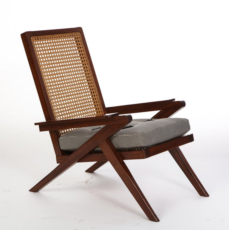 Pair of French 'Art Moderne' Mahogany and Caned Armchairs, 20th Century For Sale 3