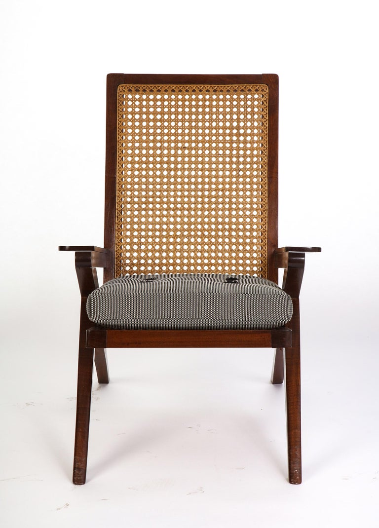 Pair of French 'Art Moderne' Mahogany and Caned Armchairs, 20th Century For Sale 5