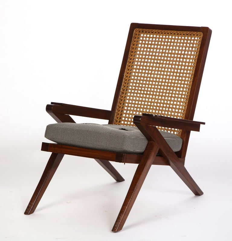 Pair of French 'Art Moderne' Mahogany and Caned Armchairs, 20th Century For Sale 6