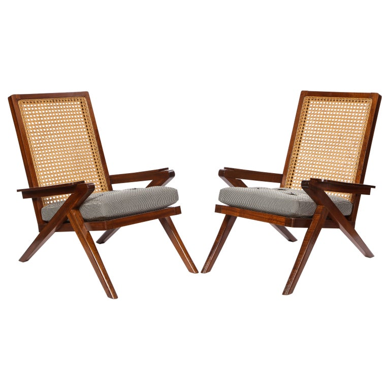 Pair of French Art Moderne Mahogany and Caned Armchairs, 20th Century For Sale