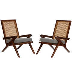 Pair of French 'Art Moderne' Mahogany and Caned Armchairs, 20th Century