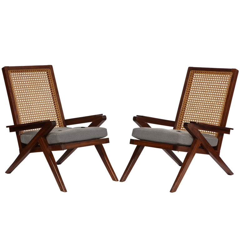 Pair of French 'Art Moderne' Mahogany and Caned Armchairs, 20th Century For Sale