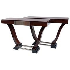 Pair of French Art Moderne Rosewood Console Tables