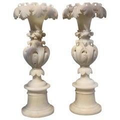 Pair of French Art Nouveau Alabaster Vases