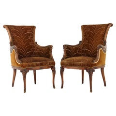 Pair of French Art Nouveau Armchairs, Two-Tone Cognac Colored Embroidered Velvet