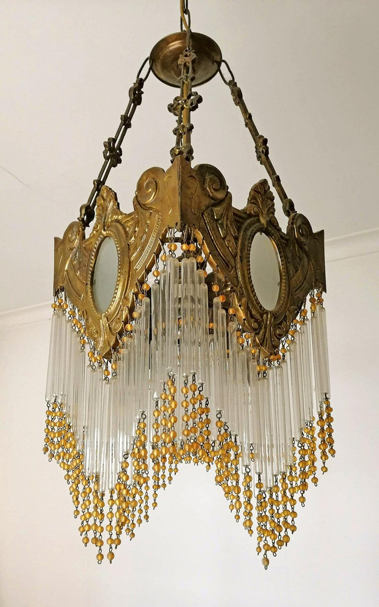 20th Century Pair of French Art Nouveau Art Deco Gilt Bronze Amber Beaded Fringe Chandeliers For Sale