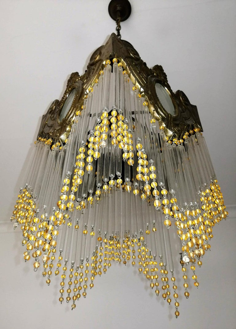 Pair of French Art Nouveau Art Deco Gilt Bronze Amber Beaded Fringe Chandeliers For Sale 1