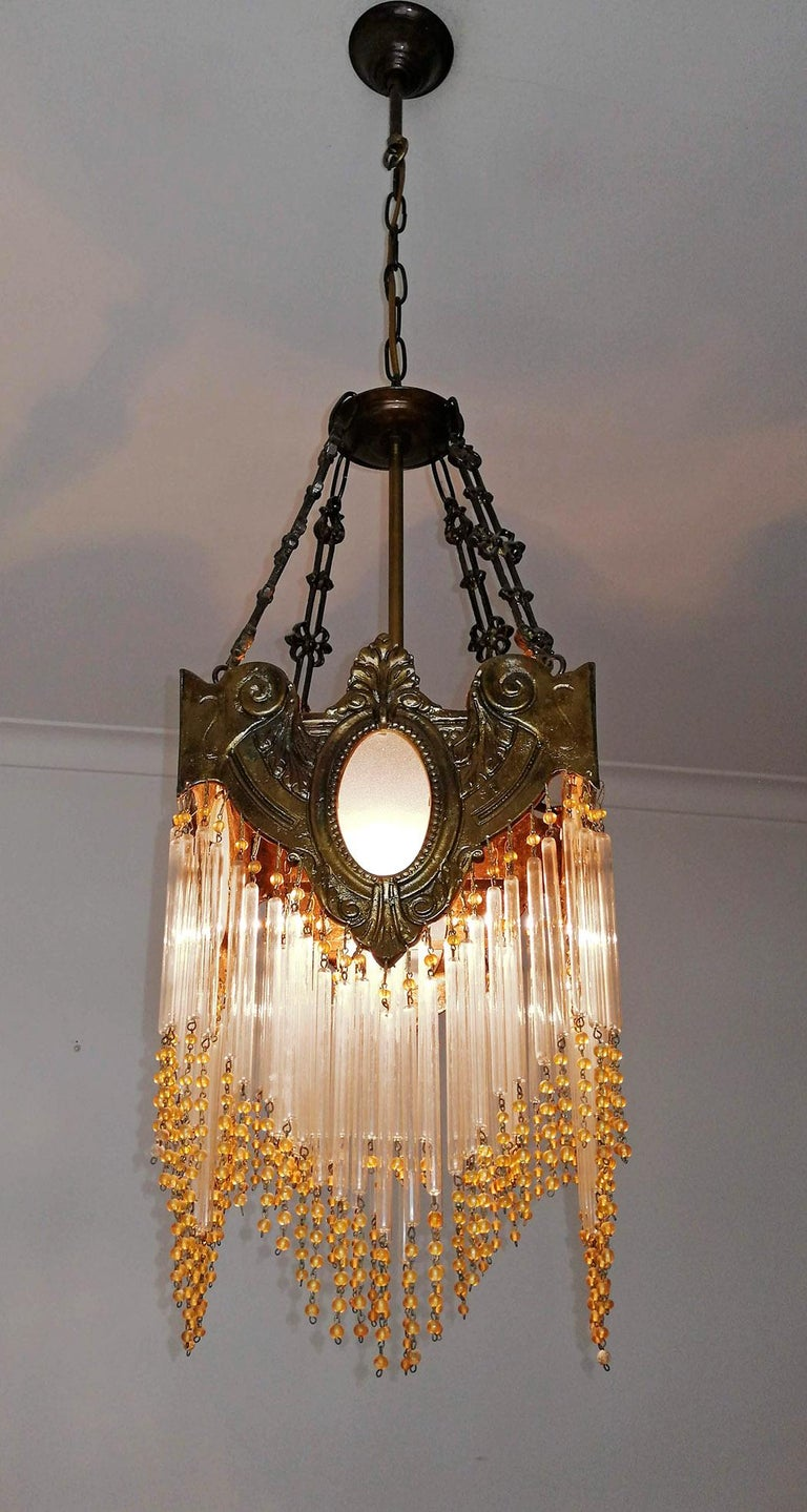 Pair of French Art Nouveau Art Deco Gilt Bronze Amber Beaded Fringe Chandeliers For Sale 2