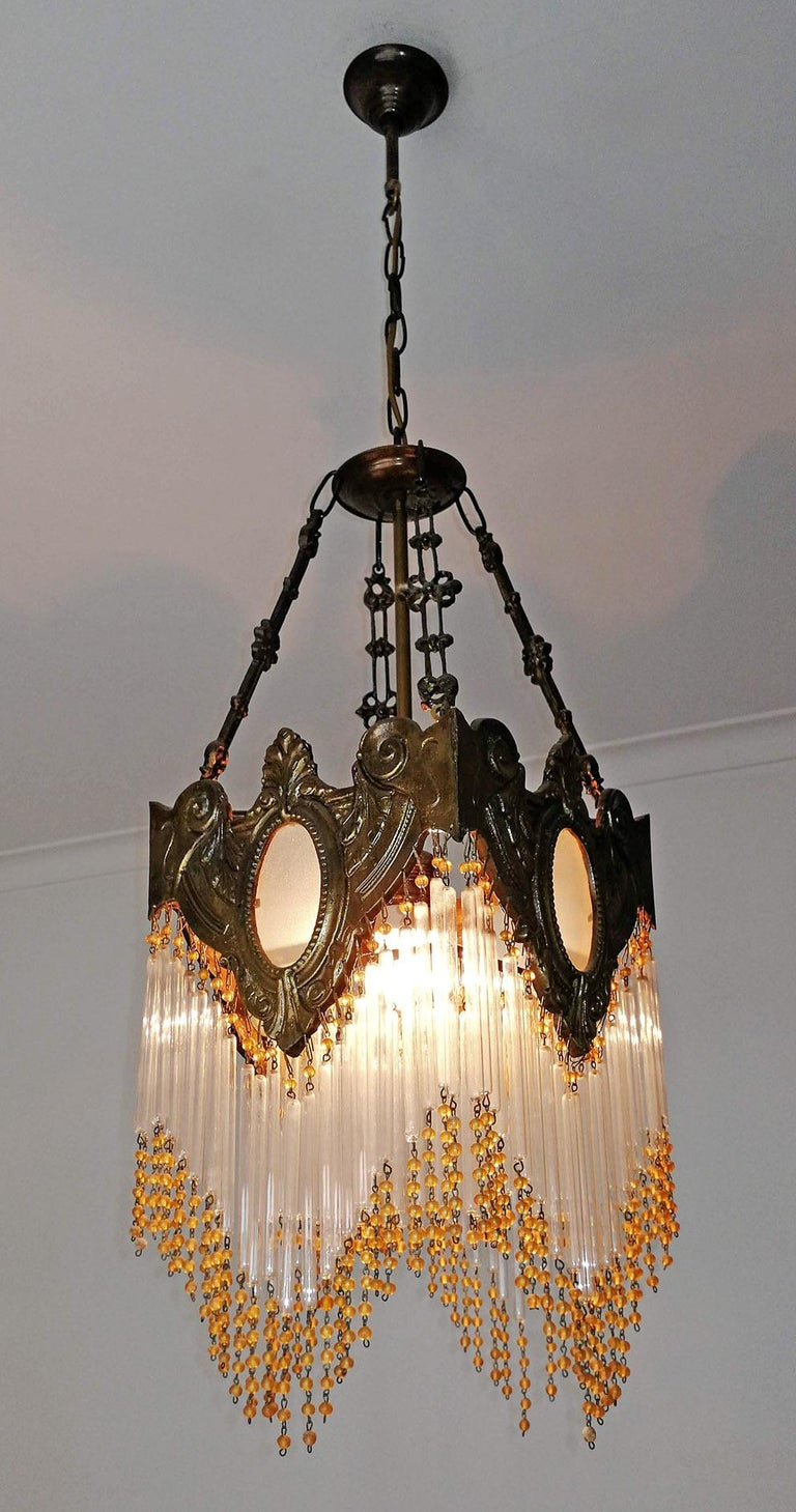 Pair of French Art Nouveau Art Deco Gilt Bronze Amber Beaded Fringe Chandeliers For Sale 3