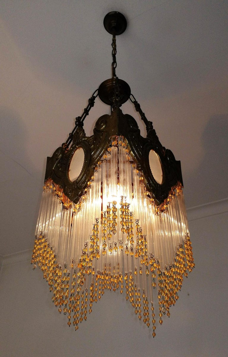 Pair of French Art Nouveau Art Deco Gilt Bronze Amber Beaded Fringe Chandeliers For Sale 4