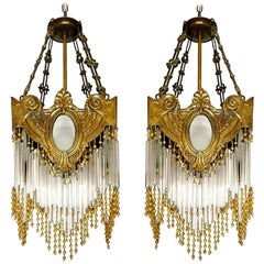 Pair of French Art Nouveau Art Deco Gilt Bronze Amber Beaded Fringe Chandeliers