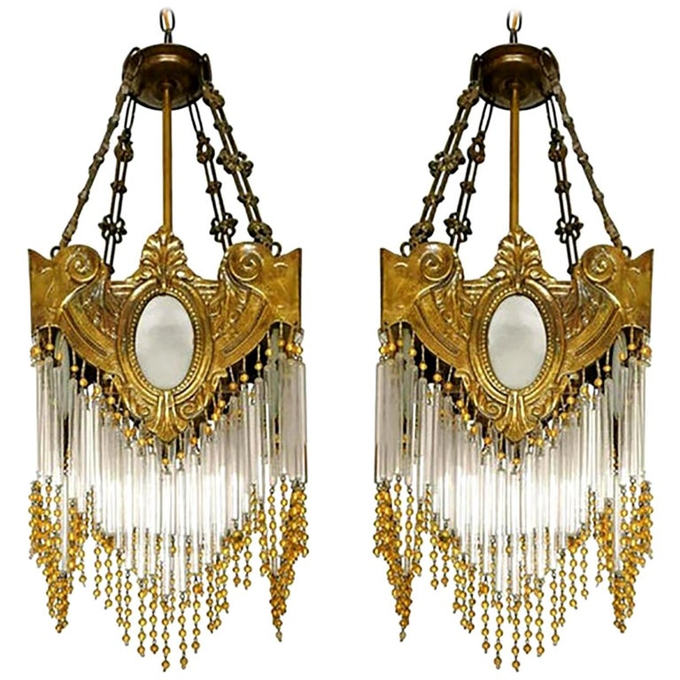 Pair of French Art Nouveau Art Deco Gilt Bronze Amber Beaded Fringe Chandeliers For Sale