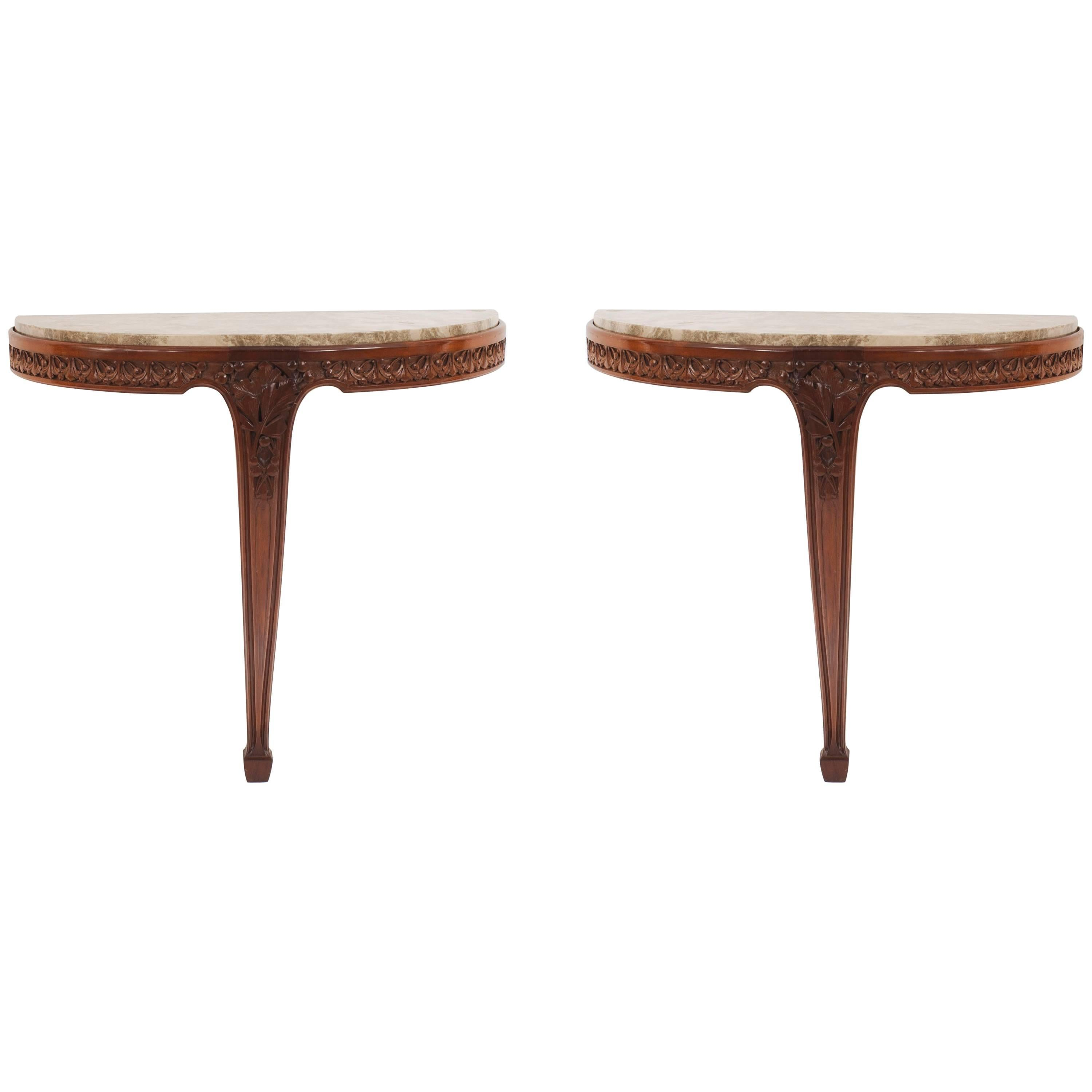 Pair of French Art Nouveau Mahogany Console Tables