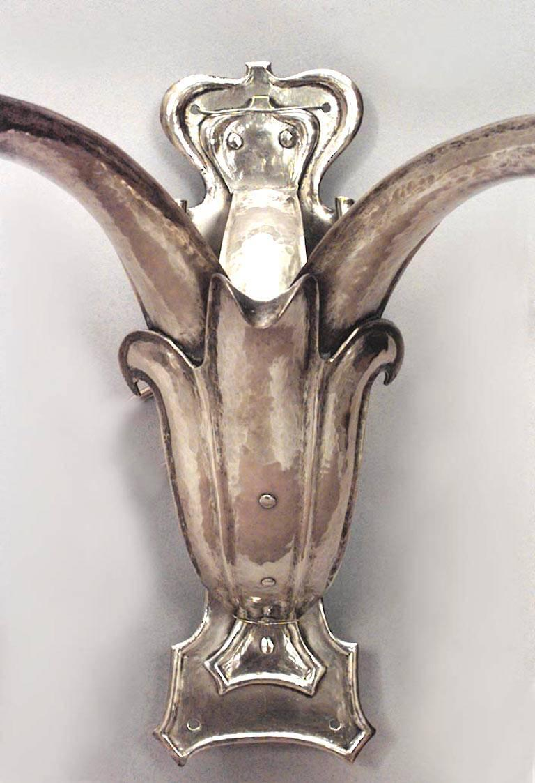 Pair of French Art Nouveau Brass Two-Arm Wall Sconces In Good Condition For Sale In New York, NY
