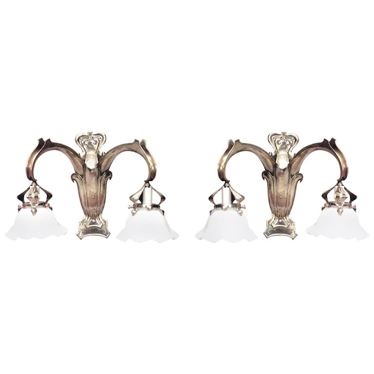 Pair of French Art Nouveau Brass Two-Arm Wall Sconces For Sale
