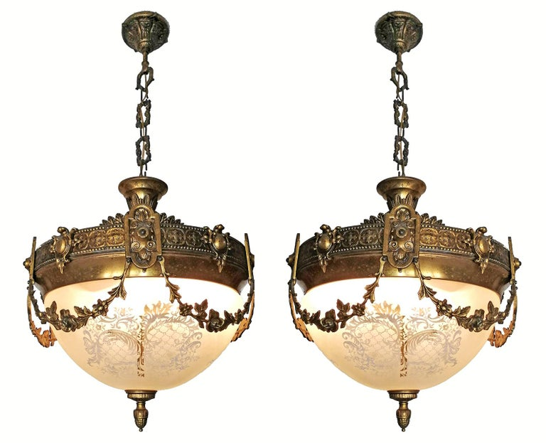 Pair of French Art Nouveau Bronze & Brass Etched Glass Chandeliers, Flush Mounts In Fair Condition For Sale In Coimbra, PT