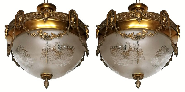 20th Century Pair of French Art Nouveau Bronze & Brass Etched Glass Chandeliers, Flush Mounts For Sale