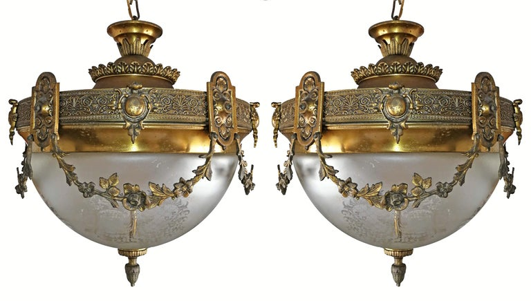Pair of French Art Nouveau Bronze & Brass Etched Glass Chandeliers, Flush Mounts For Sale 1