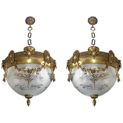 Pair of French Art Nouveau Bronze & Brass Etched Glass Chandeliers, Flush Mounts