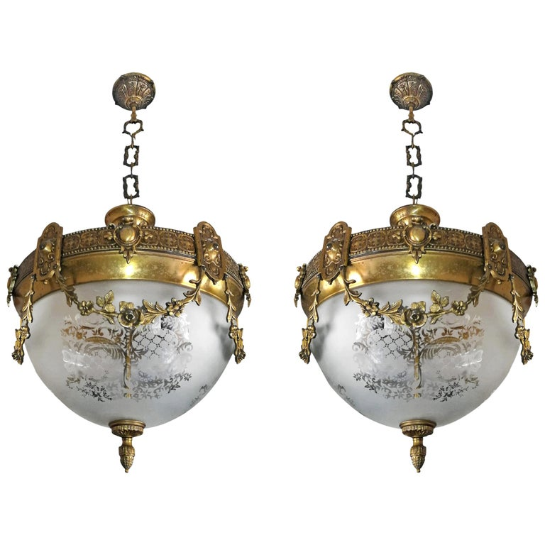 Pair of French Art Nouveau Bronze & Brass Etched Glass Chandeliers, Flush Mounts For Sale