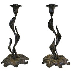 Pair of French Art Nouveau Bronze Candlesticks
