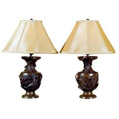 pair of French Art  Nouveau bronze lamps