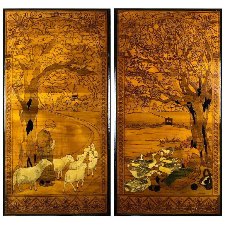 Pair of French Art Nouveau Hand Carved Wood Pyrography/Marquetry Wall Art Signed For Sale