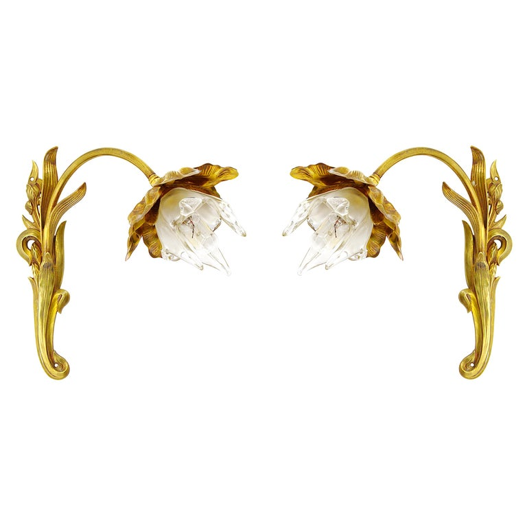 Pair of French Art Nouveau Iris Wall Sconces, circa 1900 For Sale