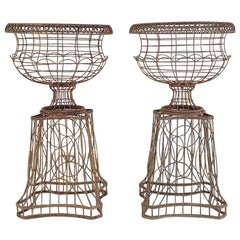 Pair of French Art Nouveau Iron Jardinieres on Stands